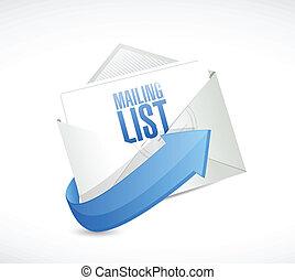desenho, lista, remetendo, ilustração, email