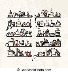 desenho, livro esboço, prateleiras, seu