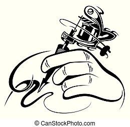 desenho, máquina, mão, pretas, tatuagem, branca, manual