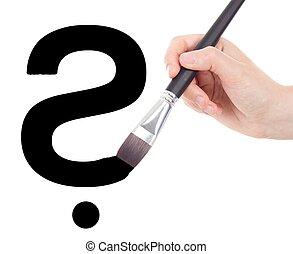 desenho, mão, pergunta, escova, marca