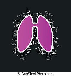 desenho, médico, formulas:, pulmão