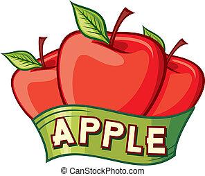 desenho, maçã, etiqueta