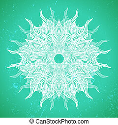 desenho, mandala, modernos, ou, snowflake