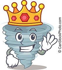 desenho, mascote, sábio, tornado, rei, estilo