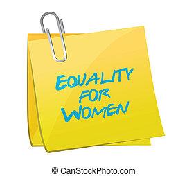 desenho, memorando, igualdade, ilustração, mulheres