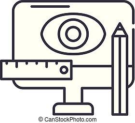 desenho, metodologia, linha, ícone, concept., desenho, metodologia, vetorial, linear, ilustração, símbolo, sinal