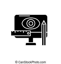 desenho, metodologia, pretas, ícone, vetorial, sinal, ligado, isolado, experiência., desenho, metodologia, conceito, símbolo, ilustração