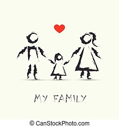 desenho, meu, crianças, família, feliz