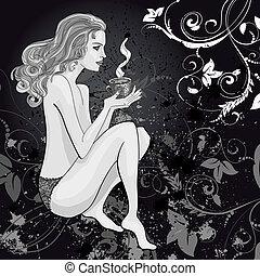 desenho, mulher, com, um, xícara chá
