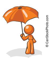 desenho, mulher, guarda-chuva, mascote