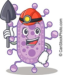 desenho, mycobacterium, mineiro, ferramenta, conceito, caricatura, capacete