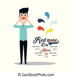 desenho, nariz, vermelho, dia