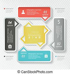 desenho, negócio, infographics, quatro, successive, opções, projeto teia, template., vetorial, illustration.