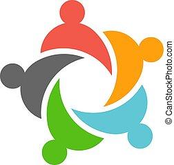 desenho, negócio, trabalho equipe, pessoas, cinco, logotipo