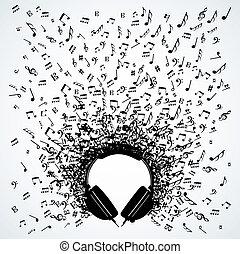 desenho, notas, fones, música, isolado