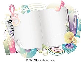 desenho, notas, livro, música, abertos