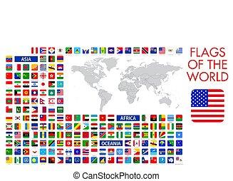 desenho, oficial, tudo, mundo, vetorial, quadrado, bandeiras, nacional