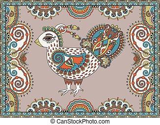 desenho, original, galinha, retro, ano, novo, 2017, símbolo, caricatura