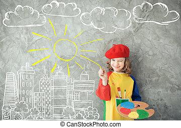 desenho, outono, theme., imaginação, e, liberdade, conceito