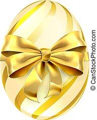 desenho, páscoa, arco ouro, ovo, fita