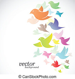 desenho, pássaro, fundo, branca