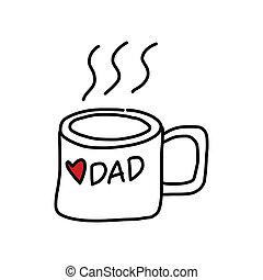 desenho, pai, mão, caricatura, dia, feliz