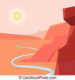 desenho, paisagem deserto