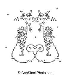 desenho, par, gatos, silueta, seu
