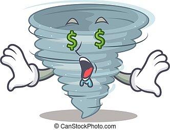 desenho, personagem, olhos, ricos, dinheiro, caricatura, tornado