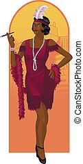 desenho, personagem, retro, afroamerican, atraente, starlet
