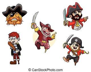 desenho, piratas, ilustração