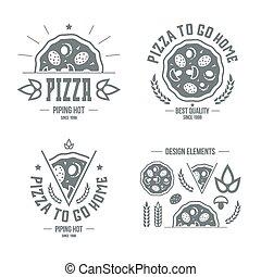 desenho, pizzeria, elementos, etiquetas, emblemas