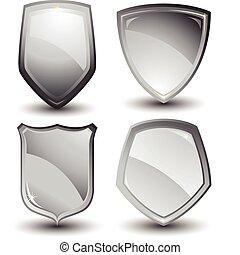 desenho, prata, escudo