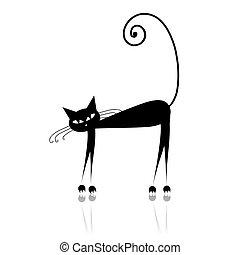 desenho, pretas, silueta, seu, gato