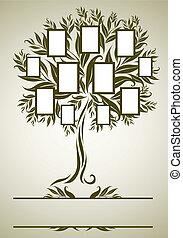 desenho, quadro, vetorial, árvore, família