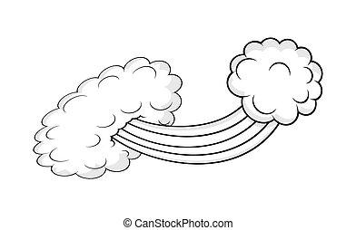 desenho, retro, nuvem, estouro