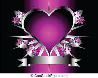 desenho, roxo, gótico, floral, corações, prata