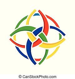 desenho, símbolo, diversidade, unidade, circular