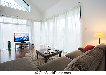 desenho, sala, cozy