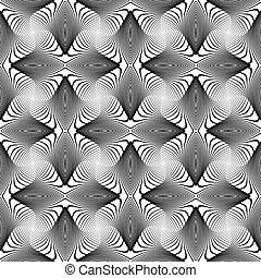 desenho, seamless, monocromático, giro, linhas, fundo