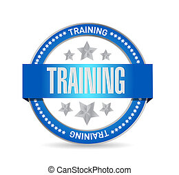 desenho, selo, treinamento, ilustração, azul