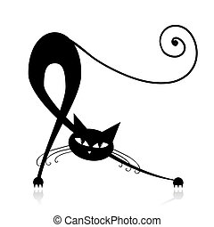 desenho, silueta, gato, pretas, gracioso, seu