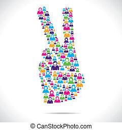 desenho, sinal, grupo, vitória, pessoas