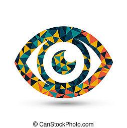 desenho, triangulo, padrão, coloridos, olho
