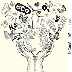 desenho, verde, mundo, concept., árvore, ligado, terra, em, hands.