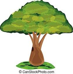 desenho, vetorial, árvore, verde