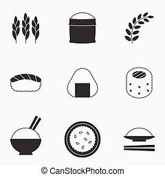 desenho, vetorial, arroz, silueta, ícone