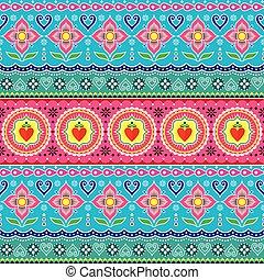 desenho, vetorial, arte, coloridos, caminhões, loto, folhas, seamless, padrão, formas, indianas, caminhão, floral, flor, pakistani, abstratos