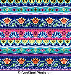 desenho, vetorial, arte, loto, folhas, seamless, padrão, formas, indianas, caminhão, floral, flor, pakistani, abstratos
