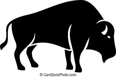 desenho, vetorial, bisonte, silueta, ilustração